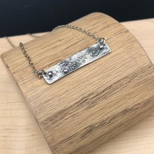 Sterling silver rustic bar necklace